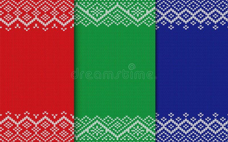 Fondos geométricos hechos punto de la Navidad Sistema del ornamento inconsútil de tres colores libre illustration