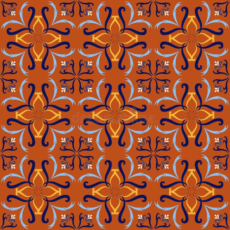 Fondos inconsútiles italianos rojos del modelo de la baldosa cerámica Azulejos decorativos adornados tradicionales de las tejas d stock de ilustración