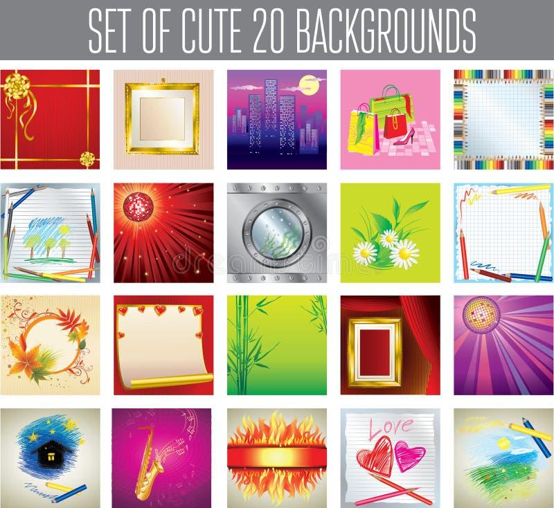 20 fondos lindos stock de ilustración