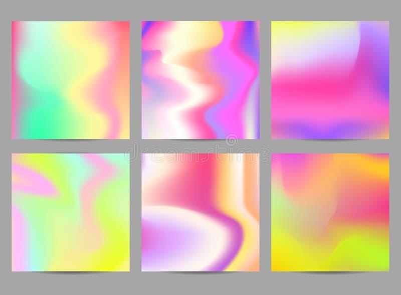 Fondos multicolores iridiscentes flúidos Ejemplo del vector de líquidos Cartel fijado con efecto de neón olográfico stock de ilustración