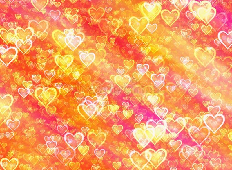 Fondos pintados brillantes de oro de los corazones ilustración del vector