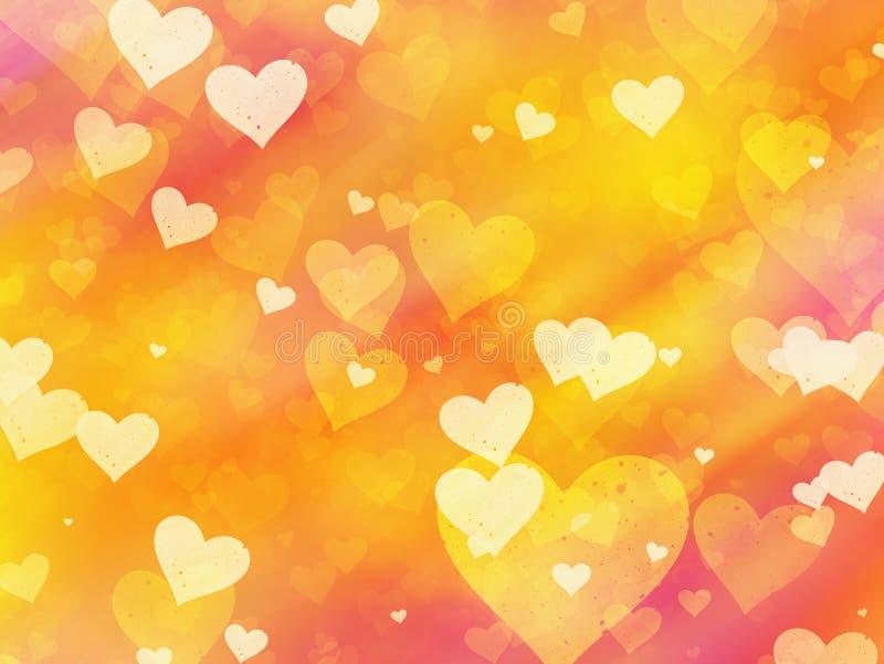 Fondos pintados coloreados calientes de los corazones ilustración del vector