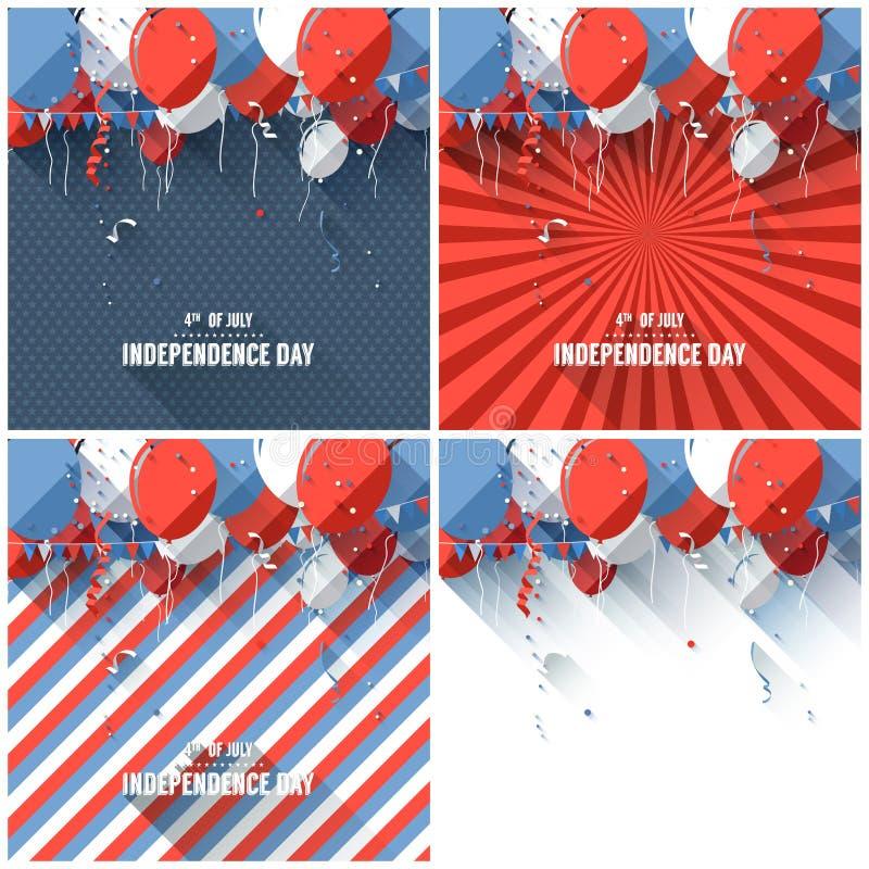 Fondos planos del Día de la Independencia del estilo stock de ilustración