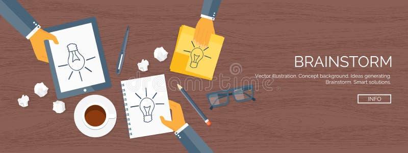 Fondos planos del ejemplo del vector fijados Creatividad que genera ideas Pausa del café del intercambio de ideas Trabajo diario stock de ilustración