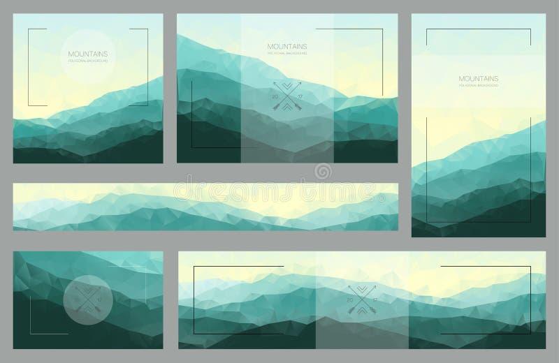 Fondos poligonales de la montaña Sistema de paisajes elegantes de la naturaleza libre illustration