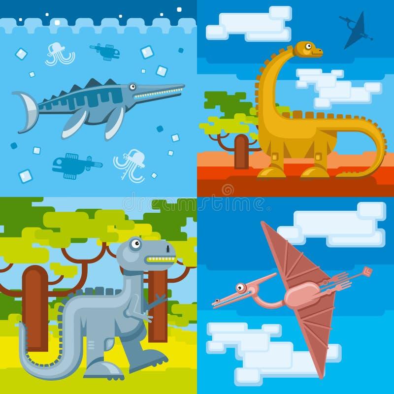 Fondos prehistóricos del concepto del dinosaurio fijados ilustración del vector