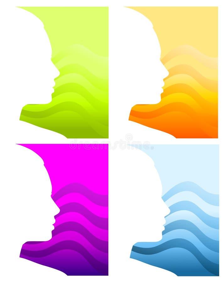 Fondos principales de la silueta de la cara ilustración del vector