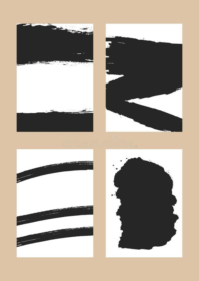 Fondos rectangulares verticales con los movimientos del cepillo Grunge, bosquejo, acuarela libre illustration
