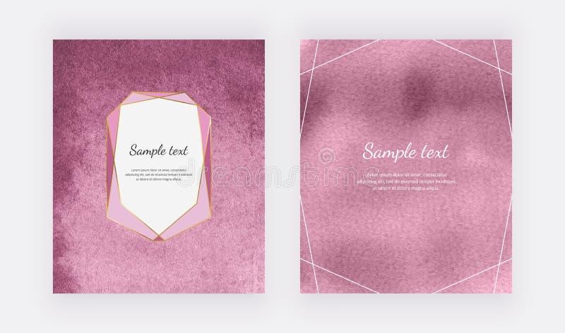 Fondos rosados de la acuarela con el marco y las fronteras geométricos Las plantillas modernas para la bandera de la tarjeta, avi stock de ilustración