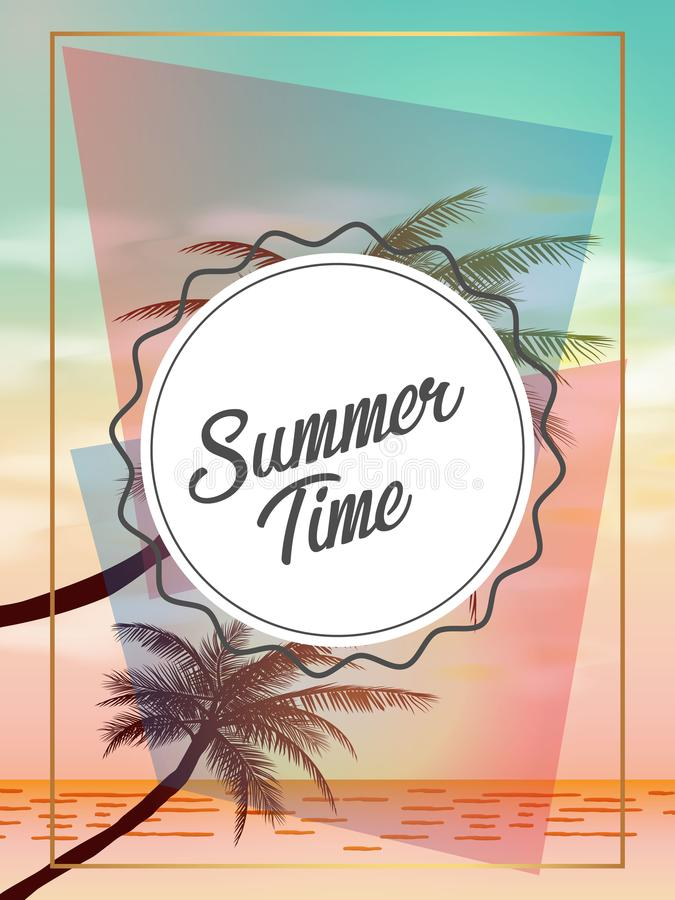Fondos tropicales del verano con las palmas, el cielo y la puesta del sol Tarjeta de la invitación del aviador del cartel del ver libre illustration