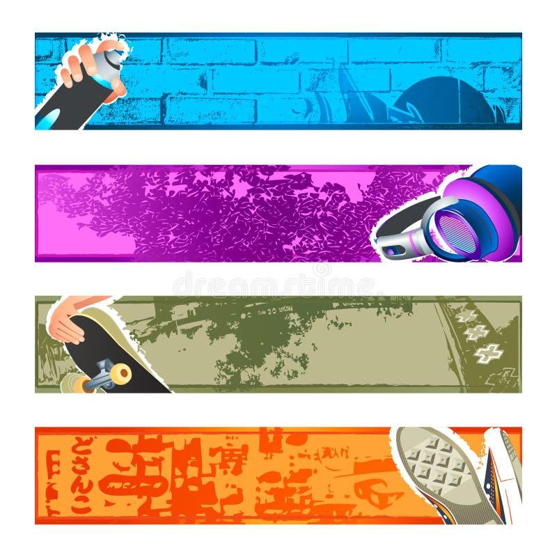 Fondos urbanos de la bandera fijados stock de ilustración