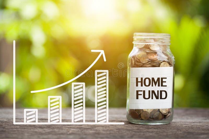 Fonds à la maison Word avec la pièce de monnaie dans le pot et le graphique en verre  Co financière photographie stock libre de droits