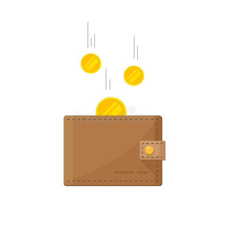 Fondsenbesparingen, contant geldinkomens die, financieel succes, rijkdom, het pictogram van het salarisinkomen op wit krijgen royalty-vrije illustratie