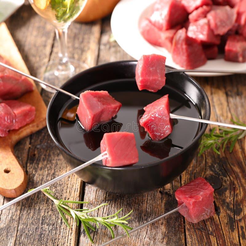 'fondue' de carne de vaca fotos de archivo libres de regalías