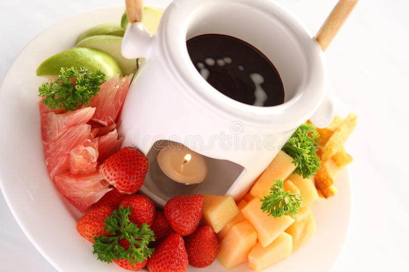 Fondue de chocolate foto de stock royalty free