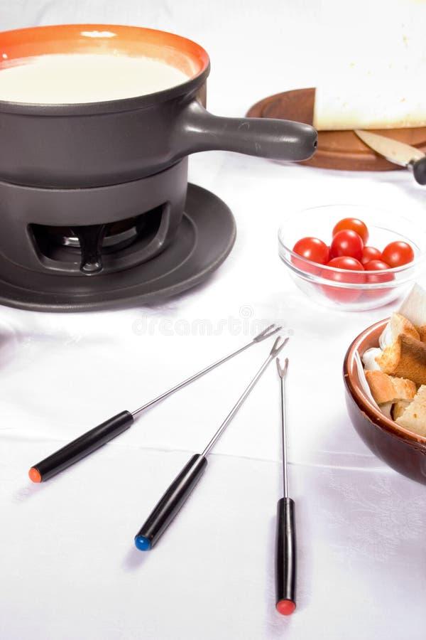 Fondue de queijo francês fotografia de stock