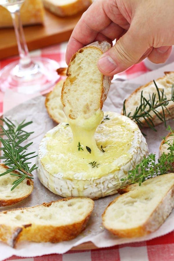 'fondue' de queso cocida del camembert foto de archivo libre de regalías