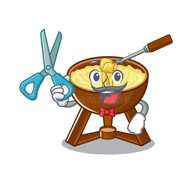 'fondue' de queso del peluquero aislada en el carácter ilustración del vector