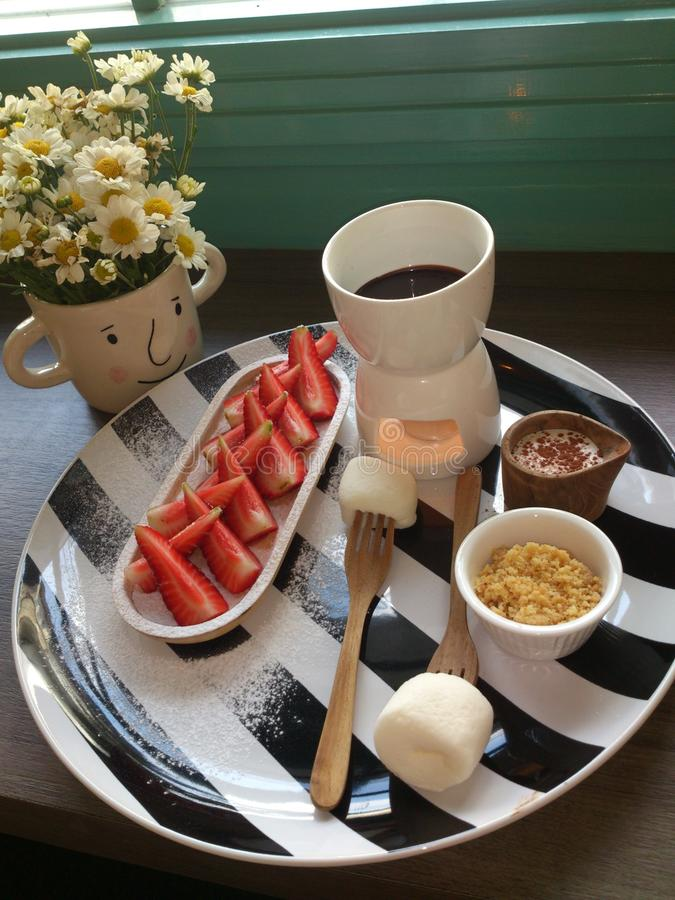 'fondue' dulce imagenes de archivo