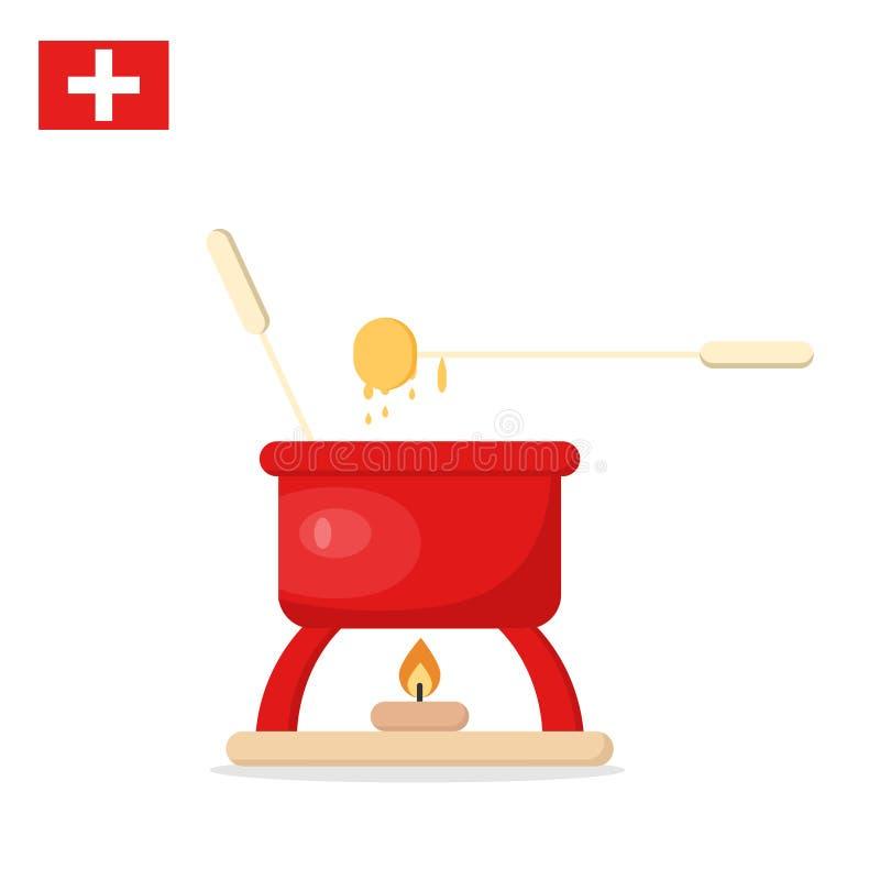 fondue Rotes Glas mit geschmolzenem Käse und Gabeln aufgereiht mit geschnittenem Brot vektor abbildung