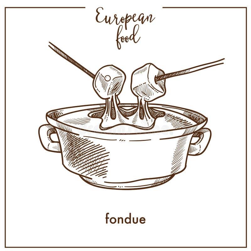 Fondue sketch icon for European Swiss food cuisine menu design. Fondue sketch icon for European food cuisine menu design. Vector retro sketch of Swiss royalty free illustration