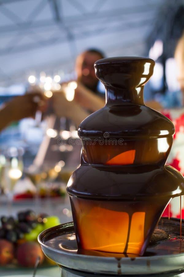 Fondue wina i garnka szkła z owoc fotografia royalty free