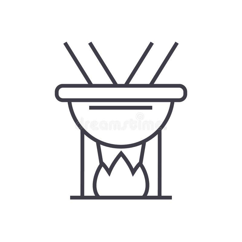 Fonduevektorlinje symbol, tecken, illustration på bakgrund, redigerbara slaglängder royaltyfri illustrationer