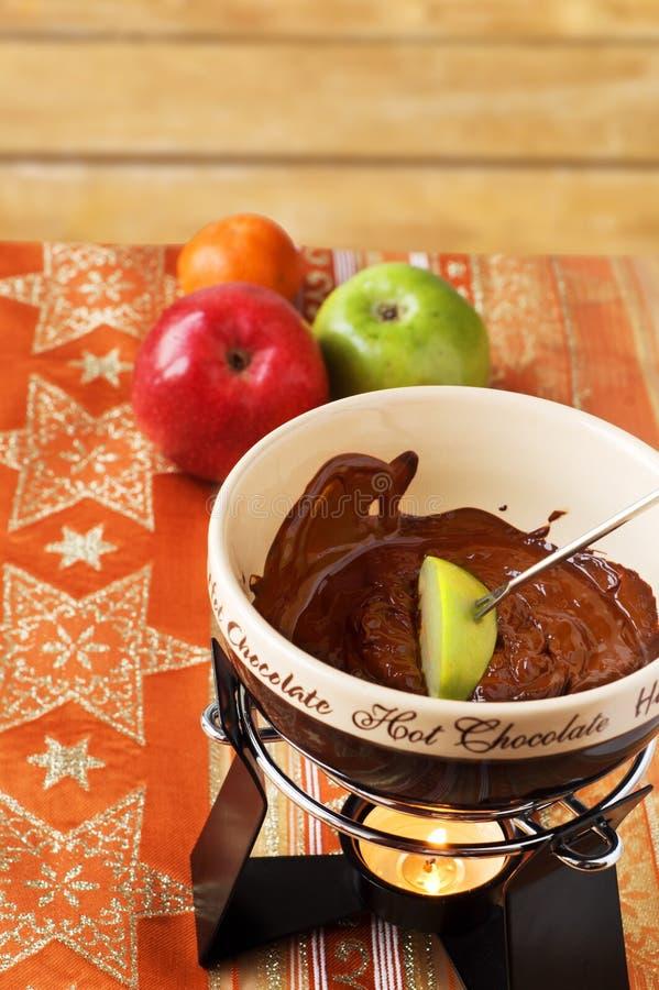 Fonduta di cioccolata calda immagine stock