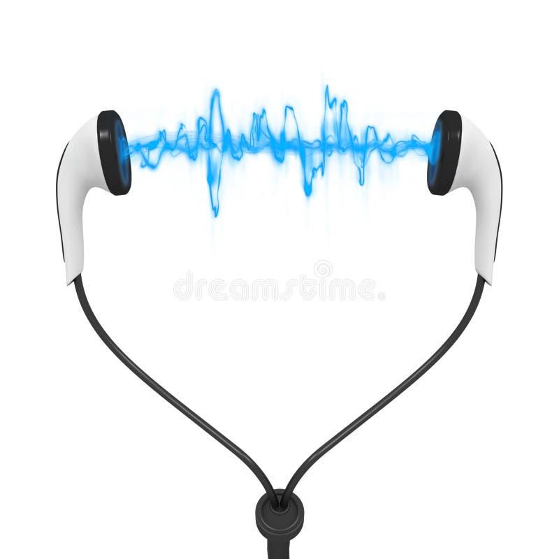 Fones de ouvido azuis do áudio da onda ilustração royalty free