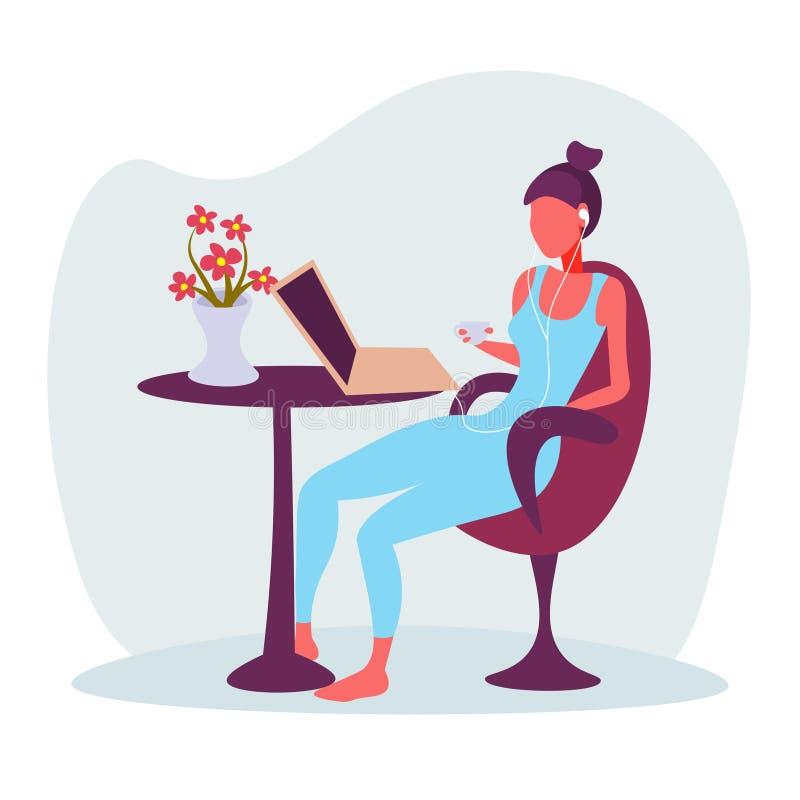 Fones de ouvido bebendo do café da menina usando o plano fêmea isolado conceito de relaxamento do personagem de banda desenhada d ilustração stock