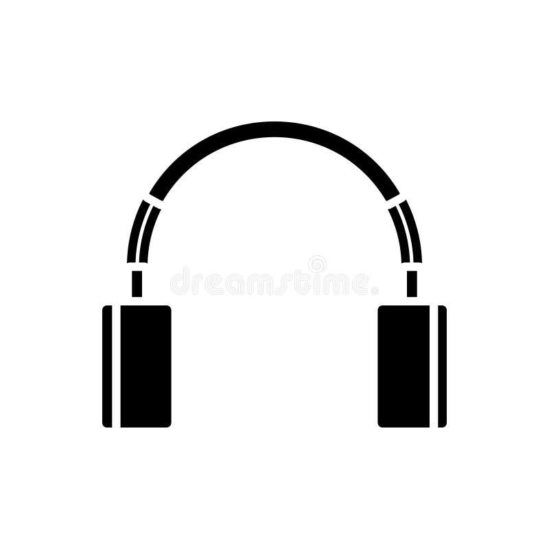 Fones de ouvido bonitos ícone, ilustração do vetor, sinal preto no fundo isolado ilustração stock