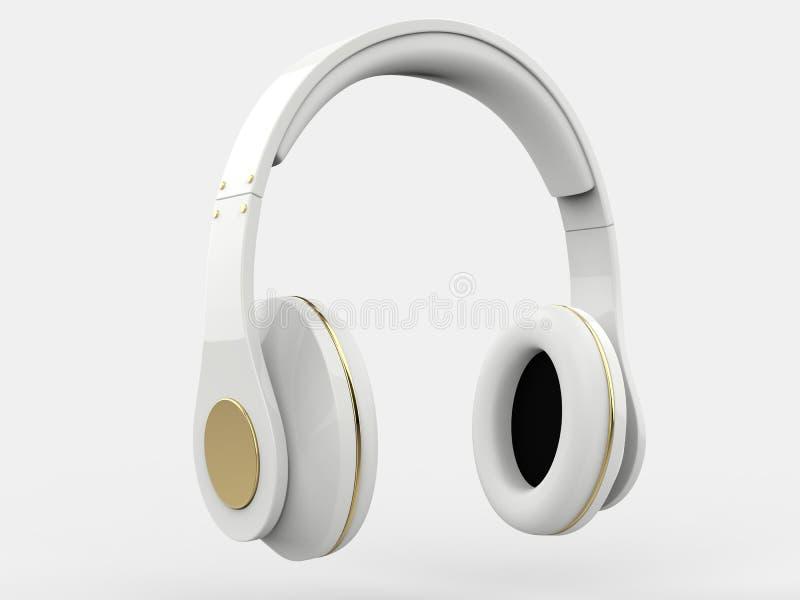 Fones de ouvido brancos brilhantes sem fio modernos com detalhes do ouro ilustração royalty free