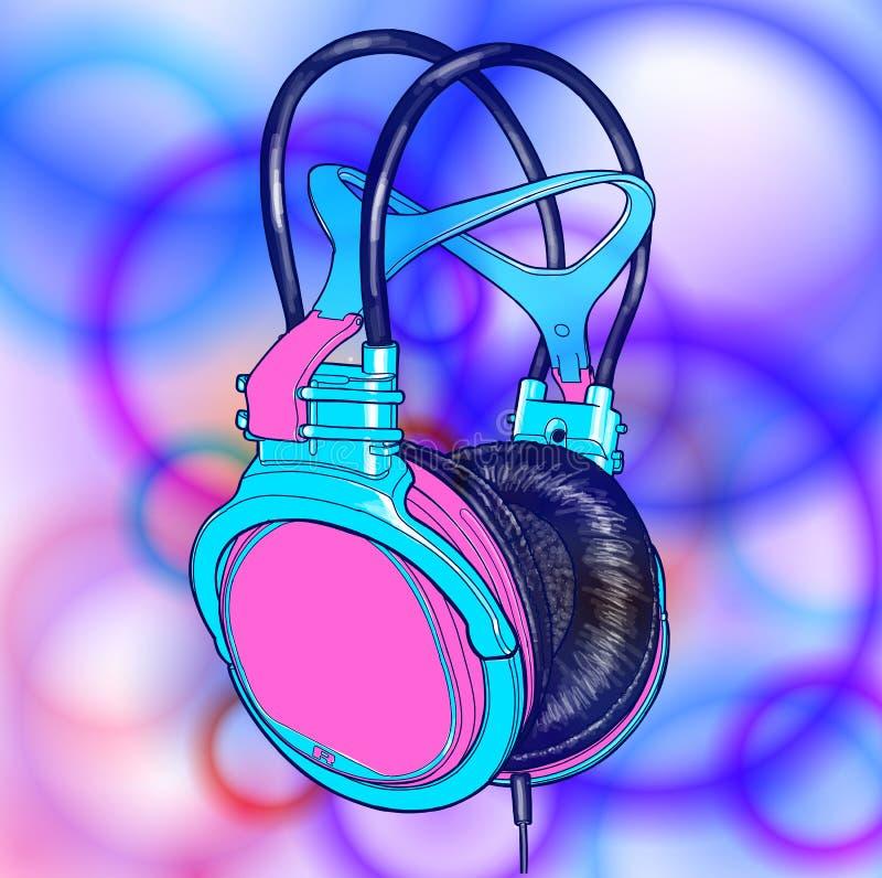 Fones de ouvido coloridos brilhantes - atmosfera da música, disco, concerto ilustração do vetor