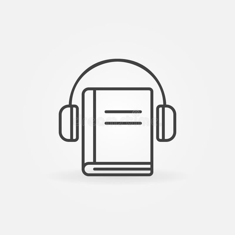 Fones de ouvido com ícone do livro ilustração do vetor