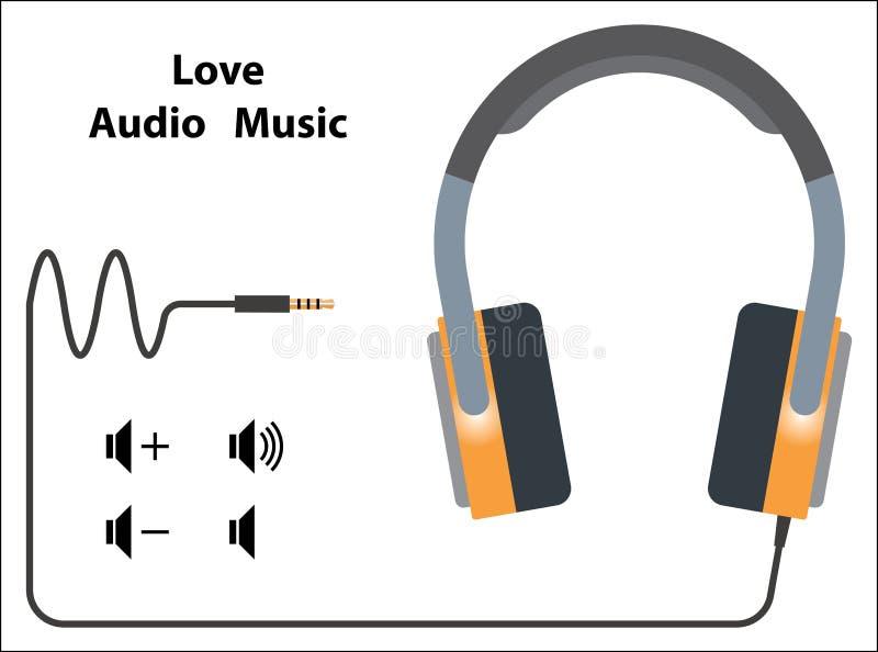Fones de ouvido com experiência audio ilustração stock