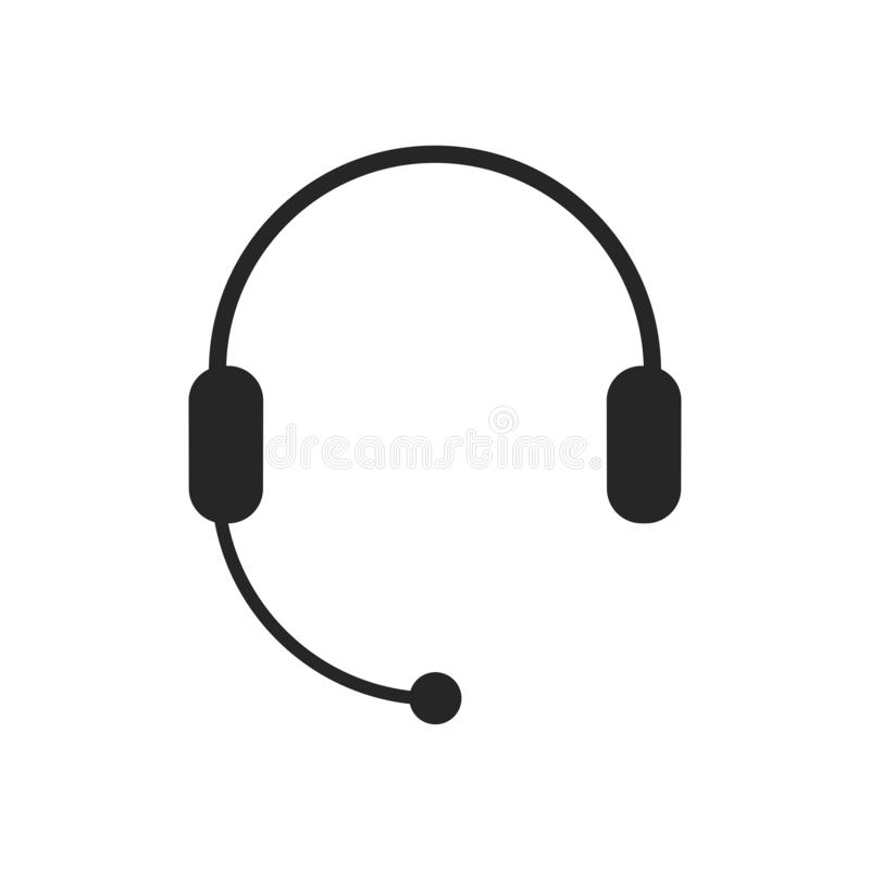 Fones de ouvido com microfone, ícone dos auriculares Apoio, centro de atendimento, símbolo do serviço ao cliente sinal do bate-pa ilustração stock