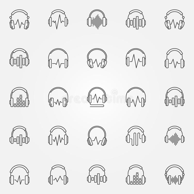 Fones de ouvido com os ícones do esboço do vetor de onda sadia ajustados ilustração royalty free
