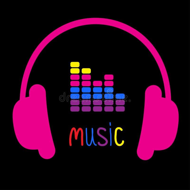 Fones de ouvido cor-de-rosa, equalizador e música colorida da palavra. Cartão. ilustração royalty free