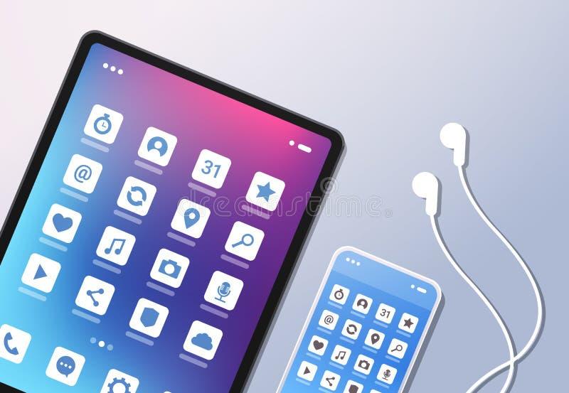 Fones de ouvido desktop coloridos do smartphone da tabuleta da opinião de ângulo superior da tela do ui criativo móvel social dos ilustração stock