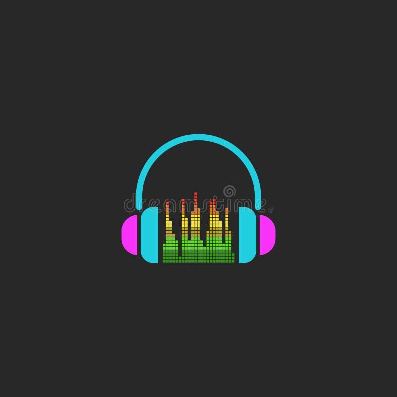 Fones de ouvido do DJ e sinal do equalizador, elemento da onda sadia do modelo para o cartaz do partido ilustração stock
