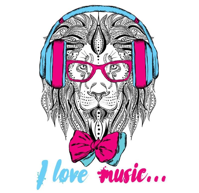 Fones de ouvido do Leão hipster Leão no estilo étnico ilustração stock