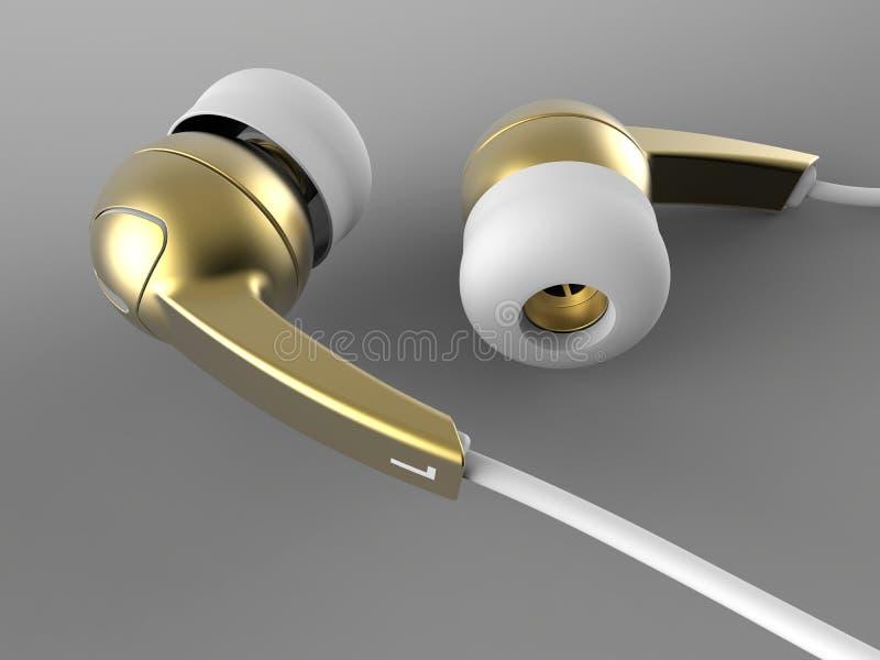 Fones de ouvido dourados do earbud ilustração do vetor