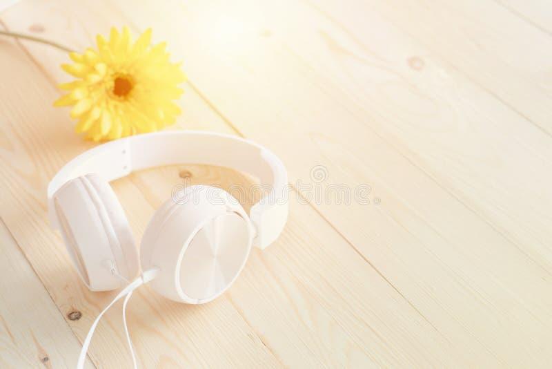 Fones de ouvido entre flores de florescência da mola fotografia de stock royalty free