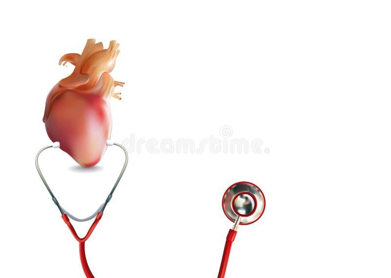 Fones de ouvido médicos com coração ou parada cardíaca no formato da ilustração 3D ilustração stock
