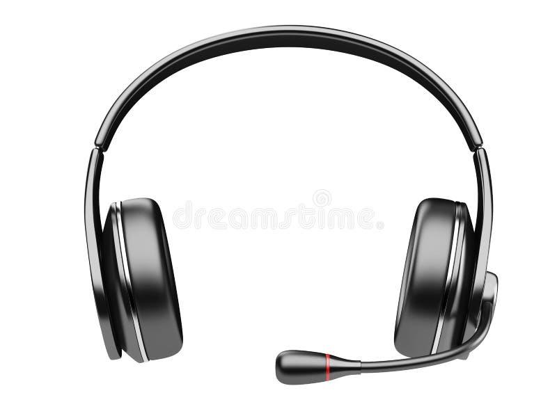 Fones de ouvido modernos pretos com microfone ilustração stock