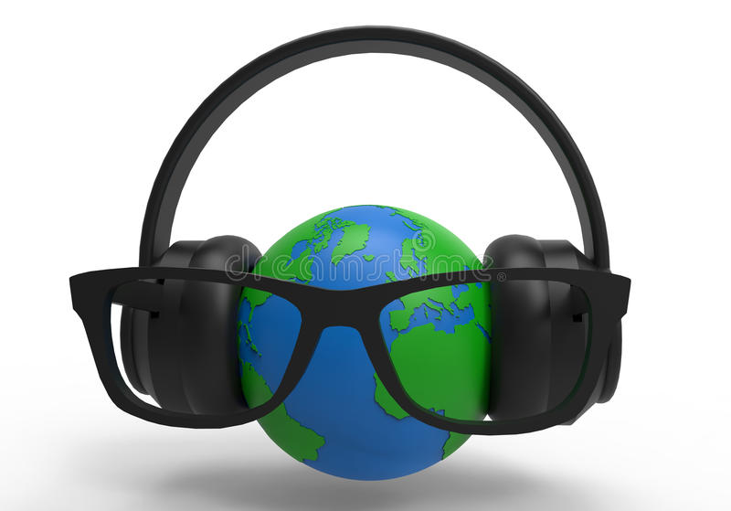 Fones de ouvido no globo da terra ilustração stock