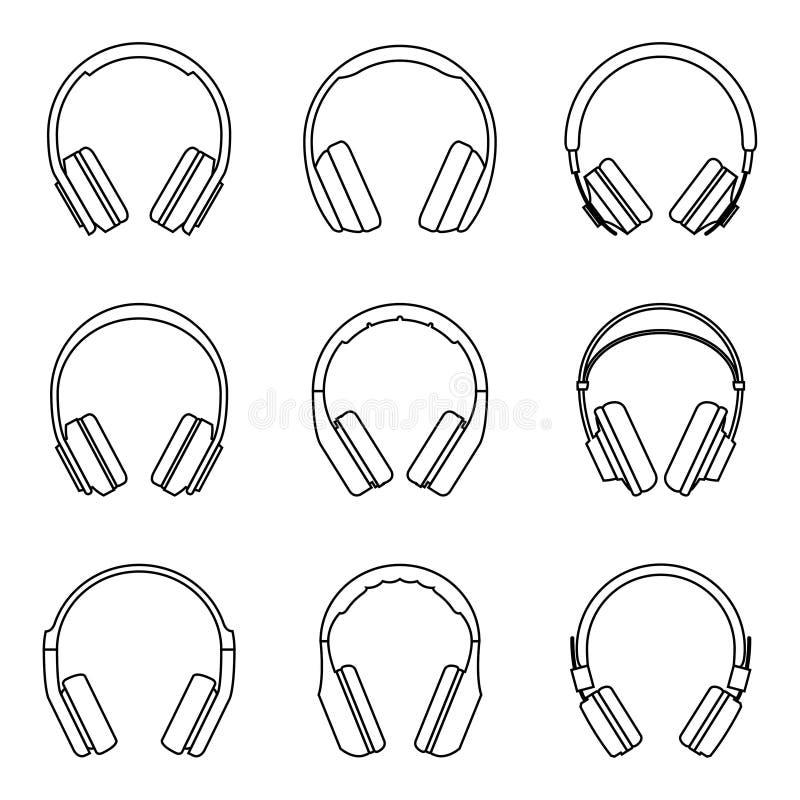 Fones de ouvido para a experiência audio O vetor dilui a linha ilustração do vetor