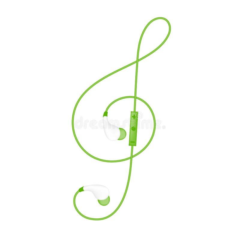 Fones de ouvido rádio e telecontrole, no tipo cor verde da orelha e forma da clave de sol feita do cabo ilustração stock