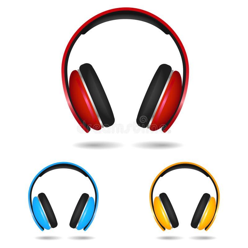 Fones de ouvido realístico isolado no branco Vermelho, azul e yellowcolors Ilustração ilustração royalty free