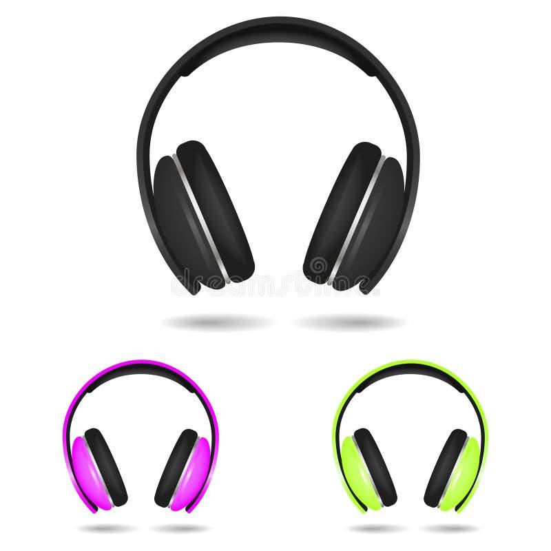 Fones de ouvido realístico isolado no branco Vermelho, azul e yellowcolors Ilustração ilustração do vetor